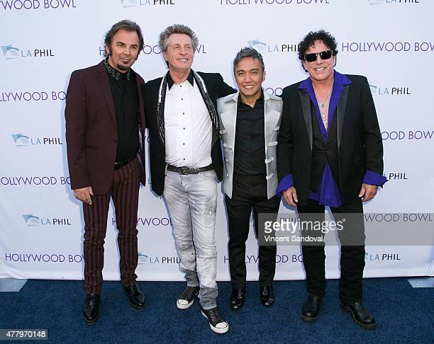 Musicians Jonathan Cain Ross Valory Arnel Pineda and Neal Schon of the band Journey attend the 2015 Hollywood Bowl Opening Night at The Hollywood...