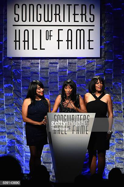 Musicians Joni Sledge Debbie Sledge and Kim Sledge onstage during the Songwriters Hall Of Fame 47th Annual Induction And Awards at Marriott Marquis...