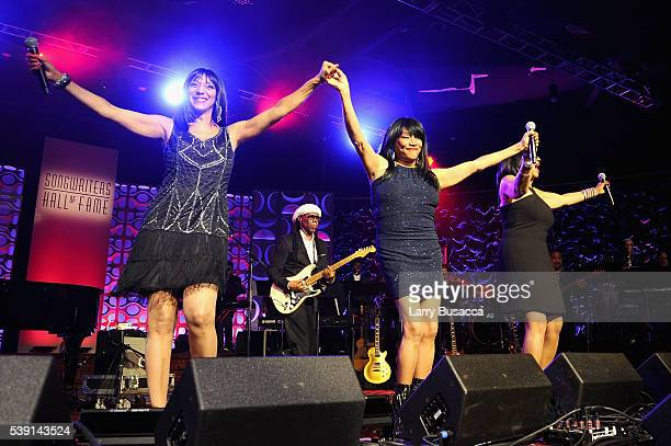 Musicians Joni Sledge Debbie Sledge and Kim Sledge perform onstage during the Songwriters Hall Of Fame 47th Annual Induction And Awards at Marriott...
