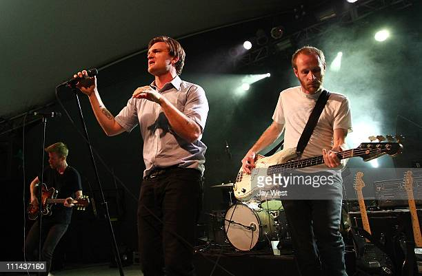 Musicians Jonnie RussellNathan Willett and Matt Maust of Cold War Kids perform in concert at Stubb's BarBQ on April 1 2011 in Austin Texas