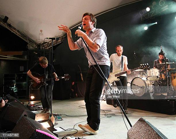 Musicians Jonnie RussellNathan WillettMatt Maust and Matt Aveiro of Cold War Kids perform in concert at Stubb's BarBQ on April 1 2011 in Austin Texas
