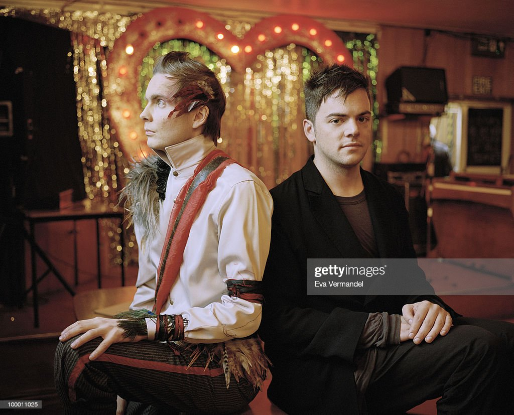 Musicians Jonsi Birgisson and Nico Muhly pose for a portrait shoot in London on April 19, 2010.