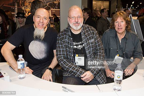 Musicians Jordan Rudess, Mike Keneally and Keith Emerson attend an autograph session at NAMM Show - Day 2 at Anaheim Convention Center on January 22,...