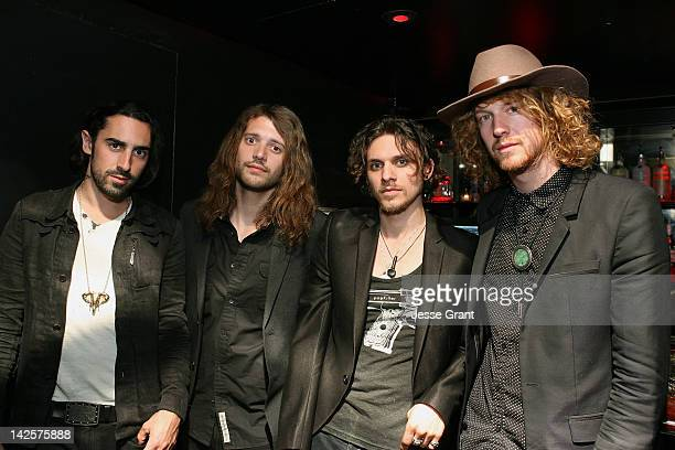 Musicians Joseph Grazi Grant Wilson Jesse Kotansky and Nathaniel Hoho of the band The Click Clack Boom attend the Andrew Charles Presents 'The Click...