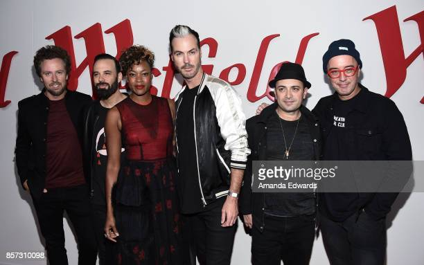 Musicians Joseph Karnes Jeremy Ruzumna Noelle Scaggs Michael Fitzpatrick James King and John Wicks of the band Fitz and The Tantrums arrive at the...