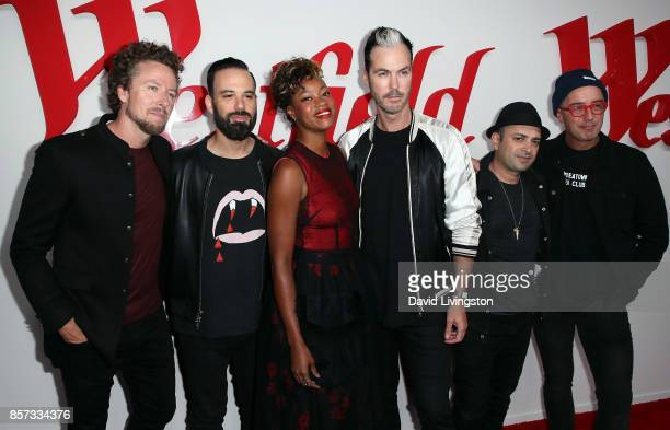 Musicians Joseph Karnes Jeremy Ruzumna Noelle Scaggs Michael Fitzpatrick James King and John Wicks of Fitz and the Tantrums attend the grand opening...
