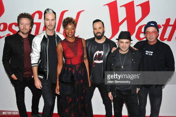 Musicians Joseph Karnes Jeremy Ruzumna Noelle Scaggs Michael Fitzpatrick James King and John Wicks of the band Fitz and The Tantrums attend the grand...