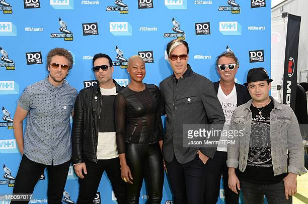 Musicians Joseph Karnes Jeremy Ruzumna Noelle Scaggs Michael Fitzpatrick John Wicks and James King of Fitz and The Tantrums arrive at the...