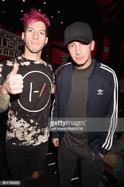 Musicians Josh Dun and Tyler Joseph of Twenty One Pilots attend the 2016 American Music Awards at Microsoft Theater on November 20 2016 in Los...