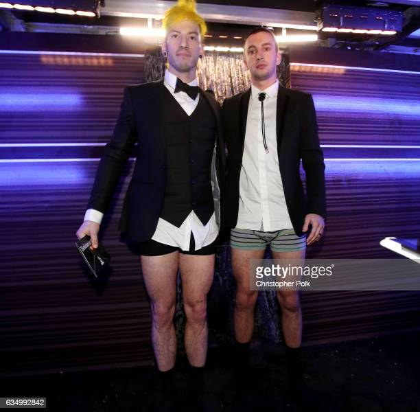 Musicians Josh Dun and Tyler Joseph of Twenty One Pilots attend The 59th GRAMMY Awards at STAPLES Center on February 12 2017 in Los Angeles California