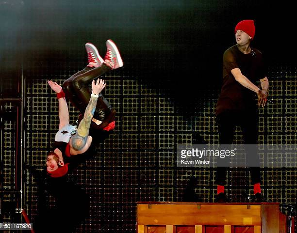 Musicians Josh Dun and Tyler Joseph of Twenty One Pilots perform onstage during 1067 KROQ Almost Acoustic Christmas 2015 at The Forum on December 12...