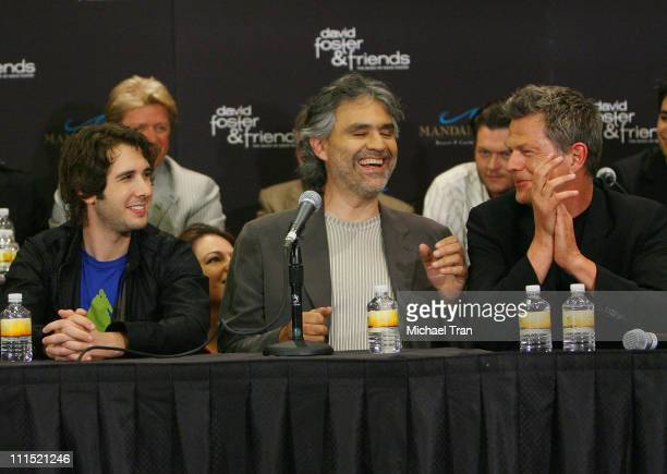 Musicians Josh Groban Andrea Bocelli and record producer David Foster speak to the members of the press at the David Foster Friends one night only...