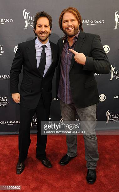 Musicians Josh Kelley and James Otto arrive at the 46th Annual Academy Of Country Music Awards RAM Red Carpet held at the MGM Grand Garden Arena on...