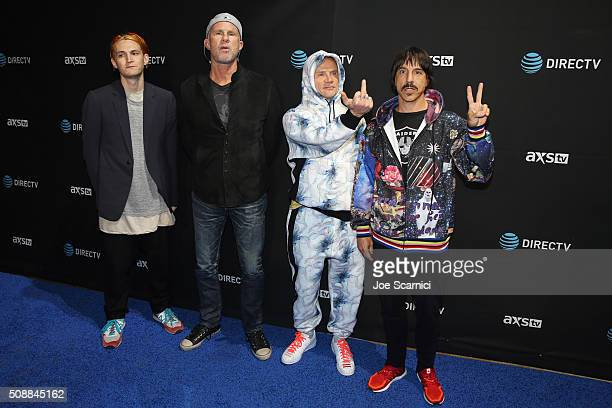 Image contains profanity SAN FRANCISCO CA FEBRUARY 06 Musicians Josh Klinghoffer Chad Smith Flea and Anthony Kiedis of The Red Hot Chili Peppers...