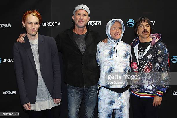 Musicians Josh Klinghoffer Chad Smith Flea and Anthony Kiedis of The Red Hot Chili Peppers attend DirecTV Super Saturday Night Cohosted by Mark...