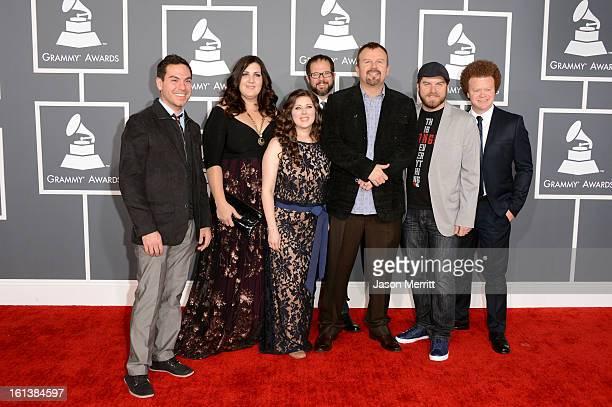 Musicians Josh Mix Melodee DeVevo Megan Garrett Juan DeVevo Mark Hall Chris Huffman and Brian Scoggin of Casting Crowns arrive at the 55th Annual...
