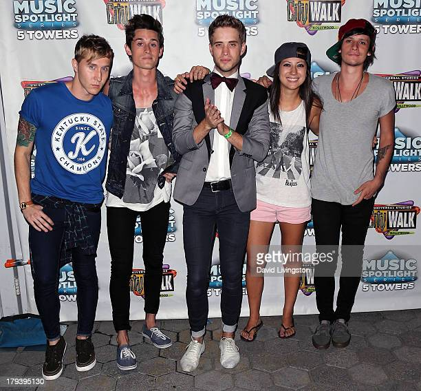 Musicians Josh Montgomery John Gomez Brian Dales Jess Bowen and Stephen Gomez of The Summer Set attend Universal CityWalk's Music Spotlight Series at...