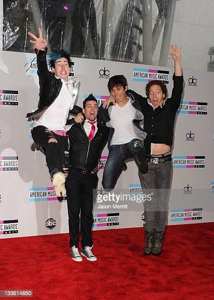 Musicians Josh Ramsay Mike Ayley Matt Webb and Ian Casselman of Marianas Trench arrives at the 2011 American Music Awards held at Nokia Theatre LA...