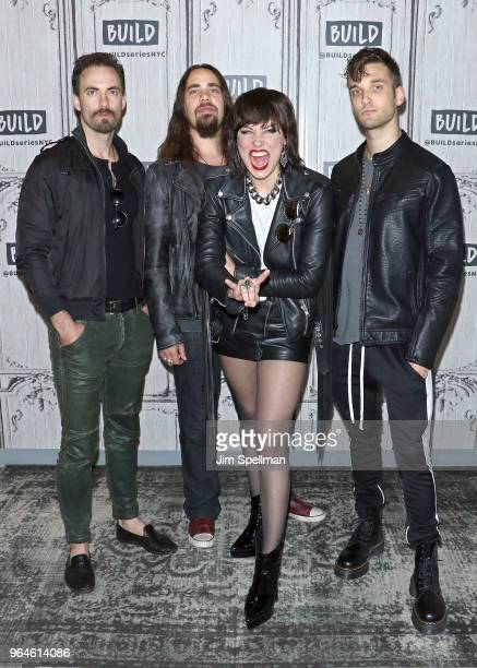 Musicians Josh Smith Joe Hottinger singer Lzzy Hale and musician Arejay Hale from Halestorm attend the Build Series to discuss at Build Studio on May...