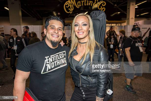 Musicians Josh Villalta and Nita Strauss attend at The NAMM Show 2020 - Day 2 at Anaheim Convention Center on January 17, 2020 in Anaheim, California.