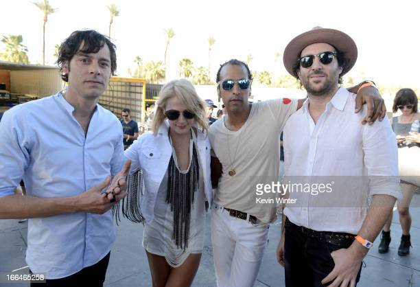 Musicians Joules ScottKey Emily Haines Joshua Winstead and James Shaw of the band Metric pose backstage during day 1 of the 2013 Coachella Valley...