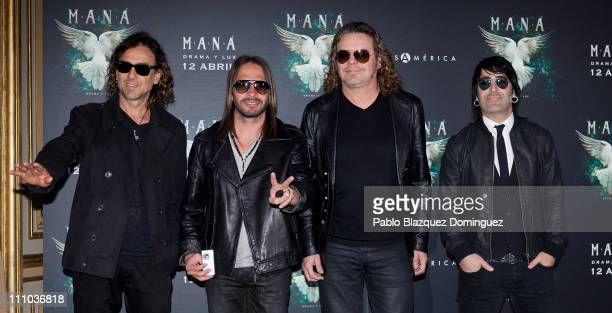 Musicians Juan Calleros Sergio Vallin Fher Olvera and Alex Gonzalez of Mexican Band 'Mana' present New Album 'Drama y Luz' at Casa de America on...