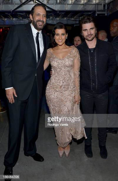 Musicians Juan Luis Guerra Nelly Furtado and Juanes attend the 13th annual Latin GRAMMY Awards held at the Mandalay Bay Events Center on November 15...