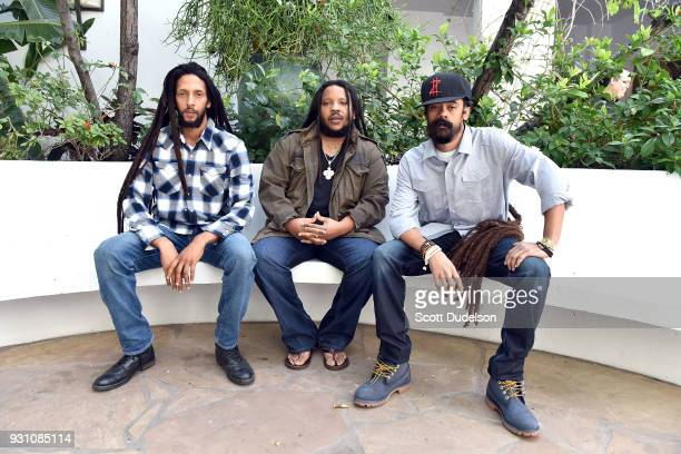 Musicians Julian Marley, Stephen Marley and Damian Marley attend the press conference for the upcoming KAYA FEST at Sunset Marquis Hotel & Villas on...