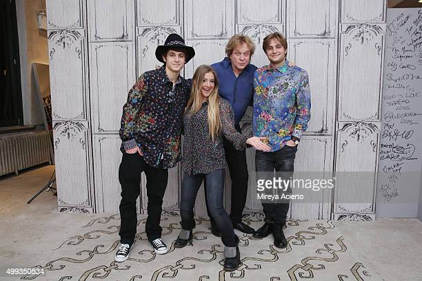 Musicians Julian Money Jesse Money Eddie Money and Dez Money attend AOL Build at AOL Studios on November 30 2015 in New York City