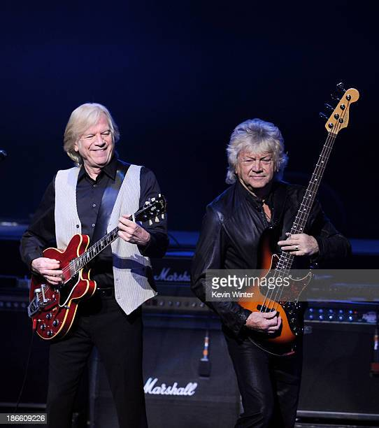 Musicians Justin Hayward and John Lodge of the Moody Blues perform at the Nokia Theatre on November 1 2013 in Los Angeles California