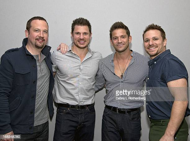 Musicians Justin Jeffre Nick Lachey Jeff Timmons and Drew Lachey of 90 Degrees at Apple Store Soho on May 8 2013 in New York City