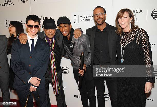 Musicians Justin Kauflin Quincy Jones and Jon Batiste pose with American Express Director of Entertainment Partnerships Walter Frye and Tribeca Film...