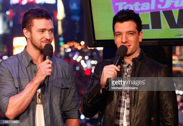 """Musicians Justin Timberlake and J.C. Chasez speak during MTV's TRL """"Total Finale Live"""" at the MTV Studios in Times Square on November 16, 2008 in New..."""