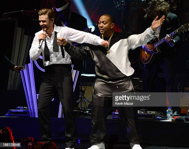 Musicians Justin Timberlake and Timbaland perform during MasterCard Priceless Premieres Presents Justin Timberlake at Roseland Ballroom on May 5 2013...