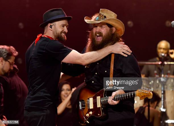 Musicians Justin Timberlake left and Chris Stapleton perform at the 2017 Pilgrimage Music Cultural Festival on September 23 2017 in Franklin Tennessee
