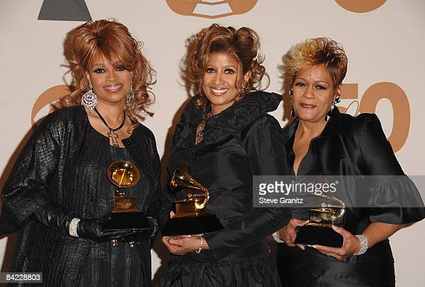 Musicians Karen Clark Sheard Dorinda Clark Cole and Jacky Clark Chisholm in the press room at the 50th Annual GRAMMY Awards at the Staples Center on...