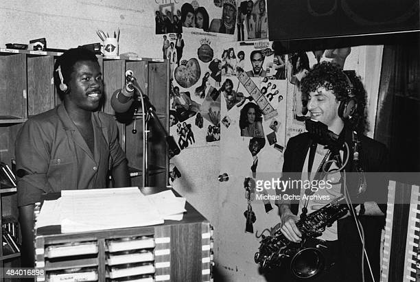 Musicians Kashif and Kenny G perform their single 'Love On The Rise' on a live radio broadcast on May 13 1985 in Los Angeles California