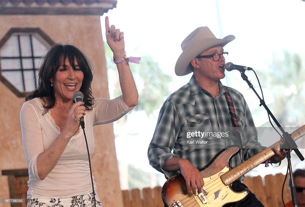 Musicians Katey Sagal (L) and Davey Faragher perform onstage during 2013 Stagecoach: California's Country Music Festival held at The Empire Polo Club on April 28, 2013 in Indio, California.