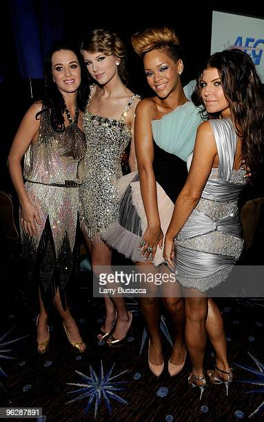 Musicians Katy Perry Taylor Swift Rihanna and Fergie during the 52nd Annual GRAMMY Awards Salute To Icons Honoring Doug Morris held at The Beverly...