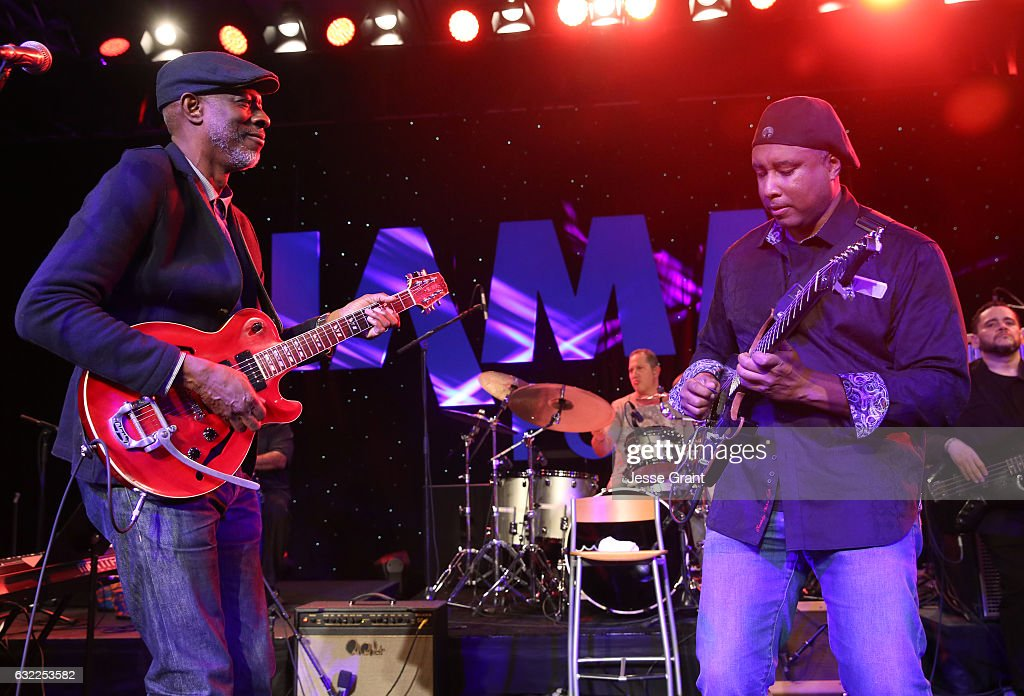 Musicians Keb' Mo' and Bernie Williams perform onstage during the 2017 NAMM Show at the Anaheim Convention Center on January 20, 2017 in Anaheim, California.