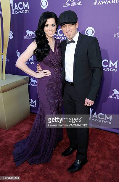 Musicians Keifer Thompson and Shawna Thompson of the band Thompson Square arrive at the 47th Annual Academy Of Country Music Awards held at the MGM...