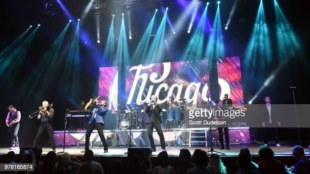 Musicians Keith Howland James Pankow Ray Herrmann Lee Loughnane Brett Simons Robert Lamm and Neil Donell of the classic rock band Chicago perform...