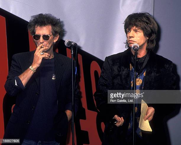 Musicians Keith Richards and Mick Jagger attend the press conference for Rolling Stones Voodoo Lounge Tour on May 3 1994 at Pier 60 in New York City