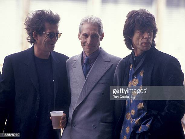 Musicians Keith Richards Charlie Watts and Mick Jagger attend the press conference for Rolling Stones Voodoo Lounge Tour on May 3 1994 at Pier 60 in...