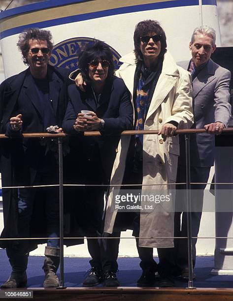 Musicians Keith Richards Ron Wood Mick Jagger and Charlie Watts attend the press conference for Rolling Stones Voodoo Lounge Tour on May 3 1994 at...