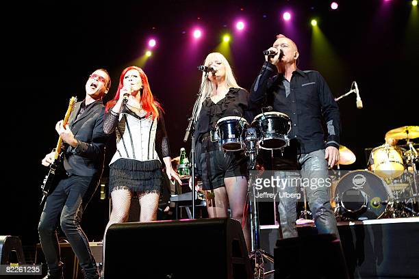 Musicians Keith Strickland, Kate Pierson, Cindy Wilson and Fred Schneider of The B52's perform at Madison Square Garden on August 7, 2008 in New York...