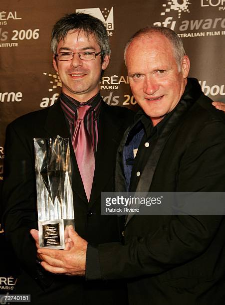 Musicians Keith Thomas and Mark Tarpey pose in the awards room with the award for Best Sound in a Documentary at the L'Oreal Paris AFI 2006 Industry...
