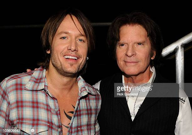 Musicians Keith Urban and John Fogerty backstage at the 2010 MusiCares Person Of The Year Tribute To Neil Young at the Los Angeles Convention Center...