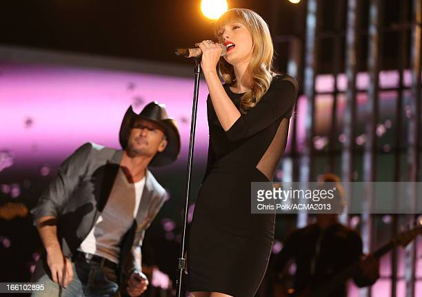 Musicians Keith Urban and Taylor Swift peform onstage during Tim McGraw's Superstar Summer Night presented by the Academy of Country Music at the MGM...