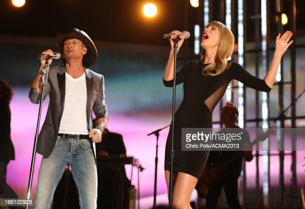 Musicians Keith Urban and Taylor Swift perform onstage during Tim McGraw's Superstar Summer Night presented by the Academy of Country Music at the...